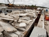 Barge loaded with reef material
